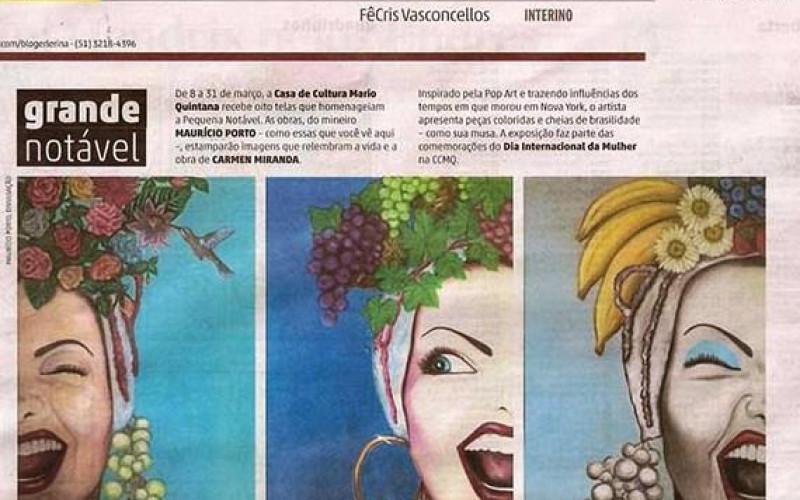 Contracapa Zero Hora, Exposição Carmen Miranda em fevereiro de 2016
