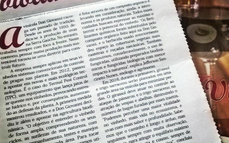 Manejo Biodiânico Caderno Vinhos do Jornal do Comércio Abril de 2016