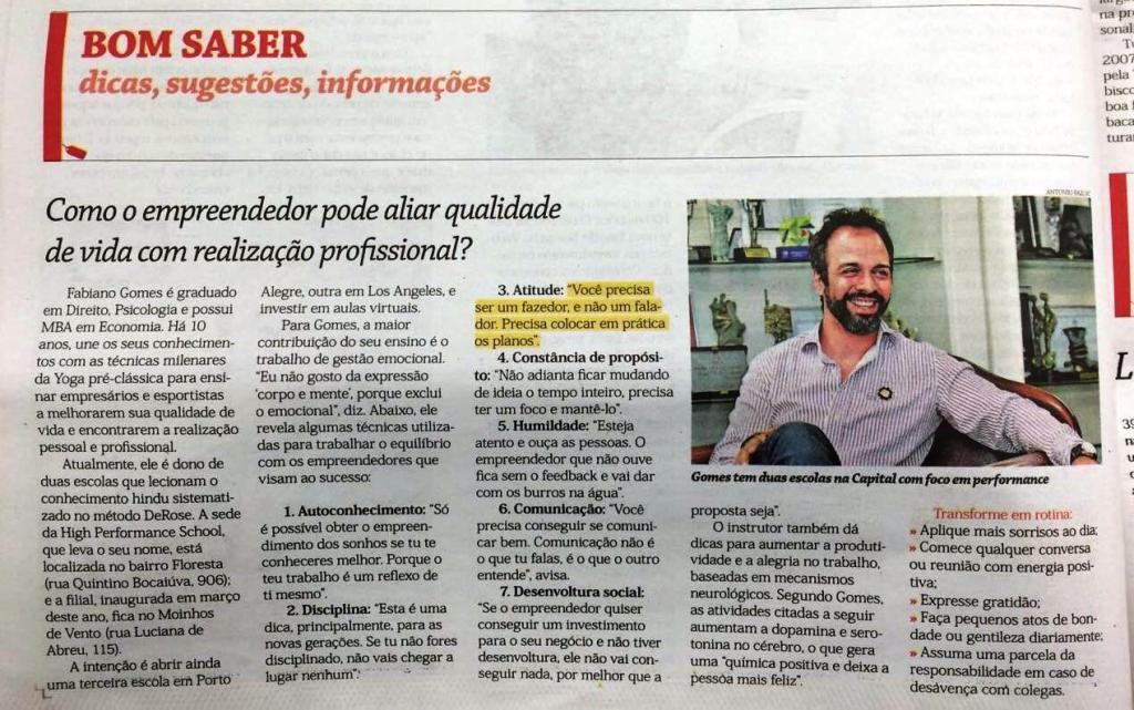 Fabiano Gomes - Caderno Geração Empreendedora do Jornal do Comércio - Março de 2016